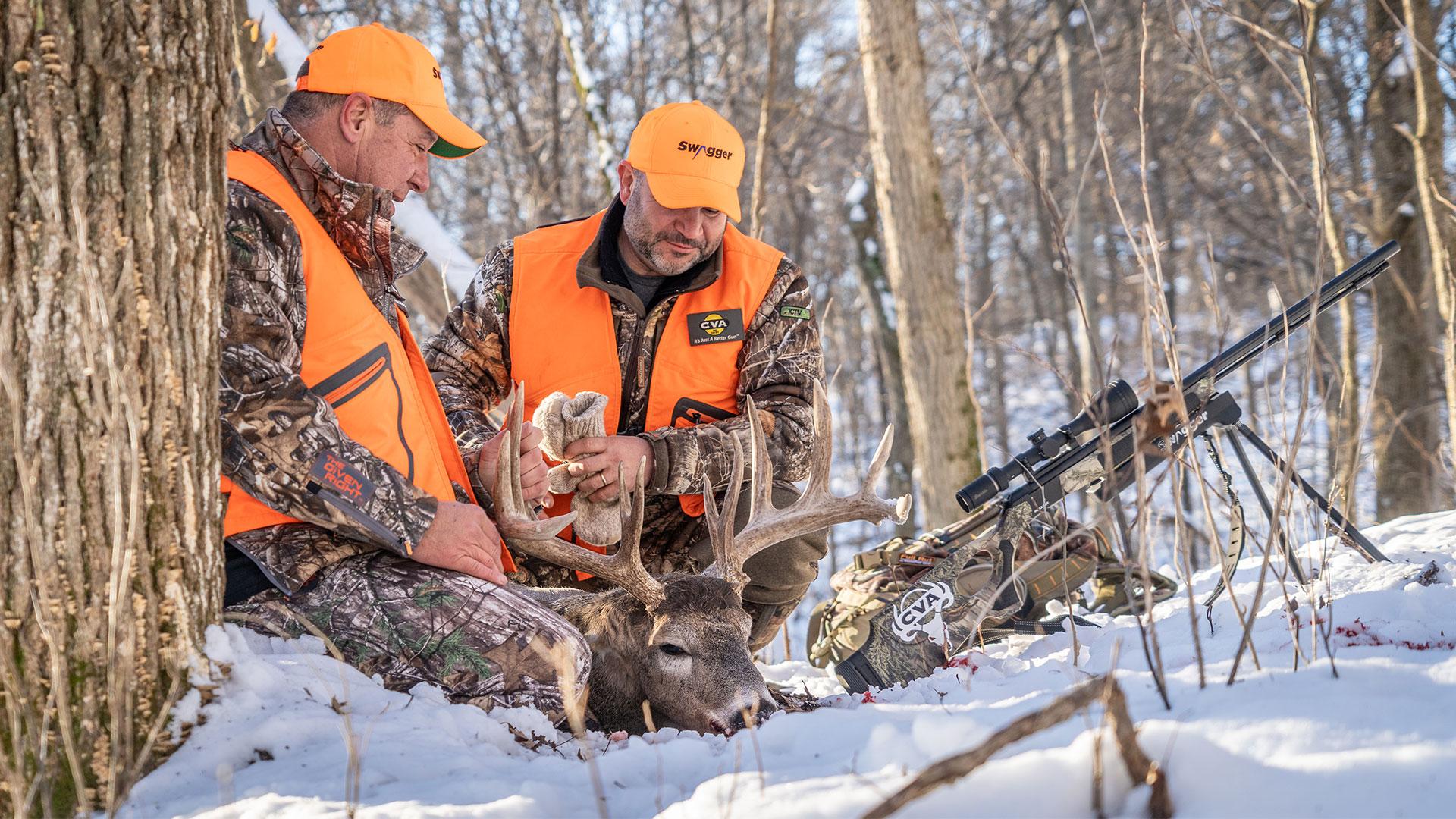 Two hunters deer hunting